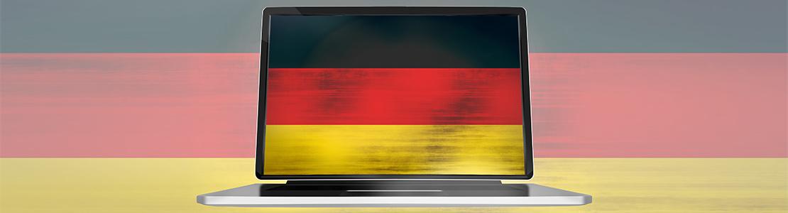 german flag at a computer
