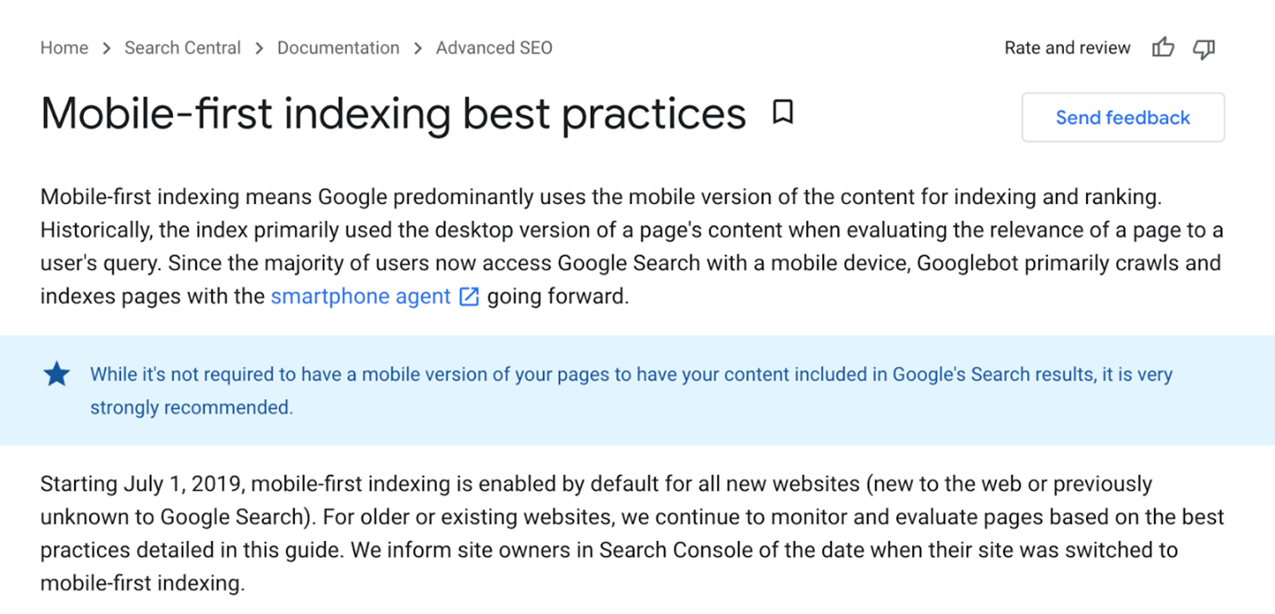 Best practices for mobile-first indexing