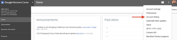 Google Merchant Center account