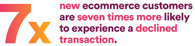 new ecommerce customers are seven times more likely to experience a declined transaction