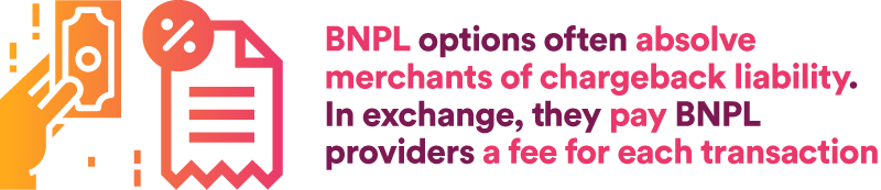 BNPL options often absolve merchants of chargeback liability. In exchange, they pay BNPL providers a fee for each transaction