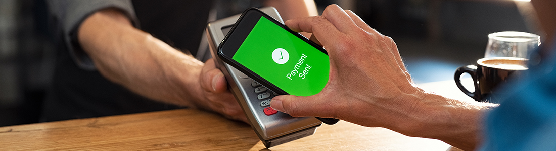 a person making a mobile payment