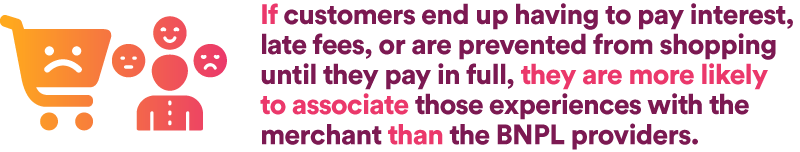 If customers end up having to pay interest, late fees, or are prevented from shopping until they pay in full, they are more likely to associate those experiences with the merchant than the BNPL providers.