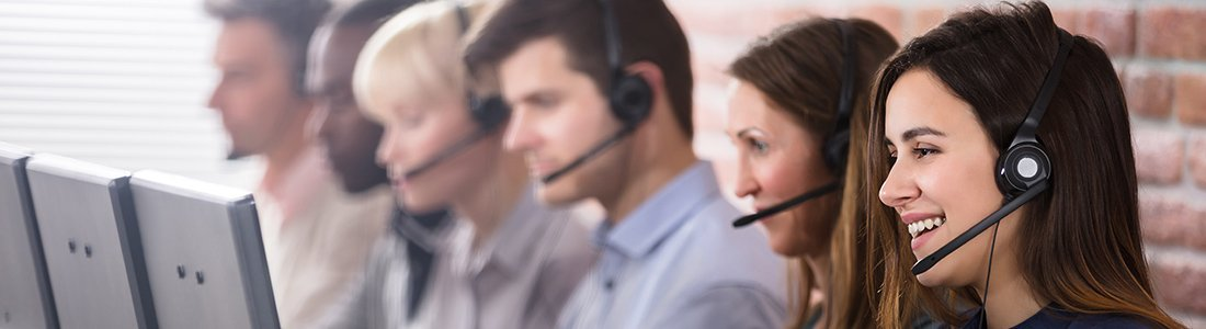 People working at customer service