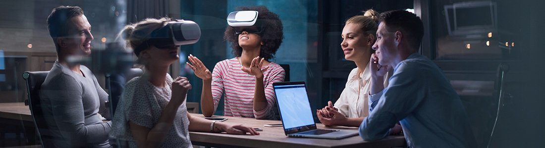 a group of people experiencing virtual reality