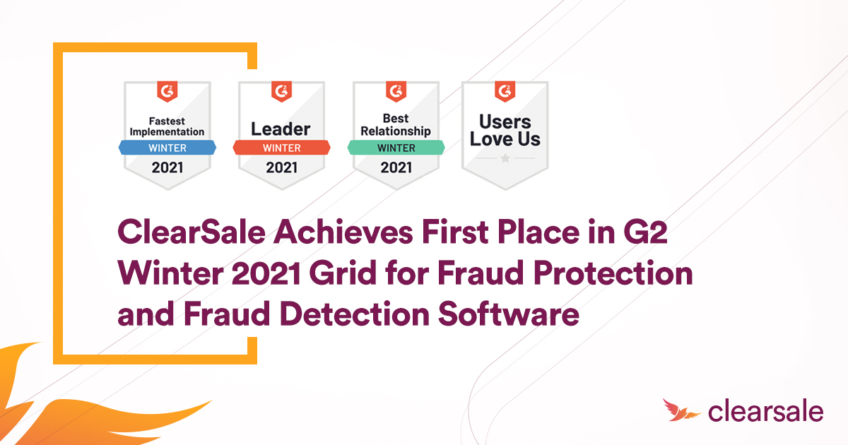 ClearSale Achieves First Place in G2 Winter 2021 Grid for Fraud Protection and Fraud Detection Software