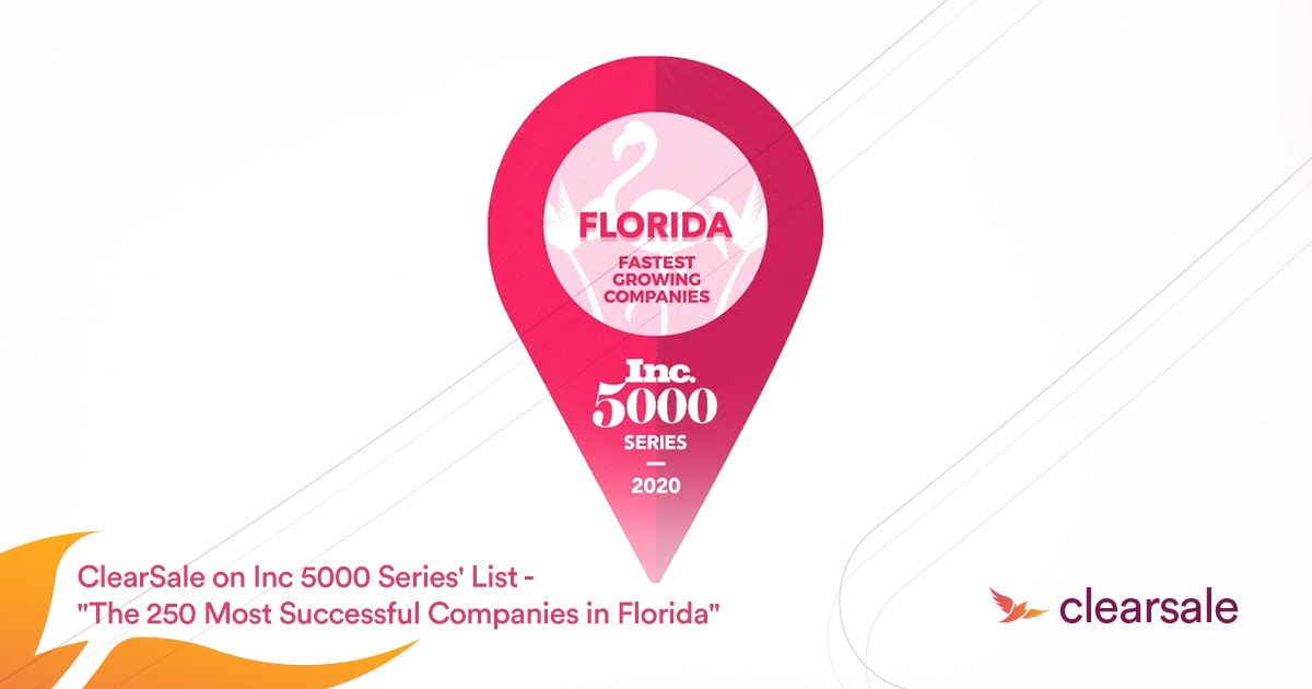 ClearSale ranked No. 14 on Inc. 5000 Series: Florida List