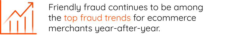 Friendly fraud continues to be among the top fraud trends for ecommerce merchants year-after-year.