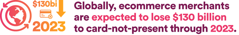 Globally, ecommerce merchants are expected to lose $130 billion to card-not-present through 2023.
