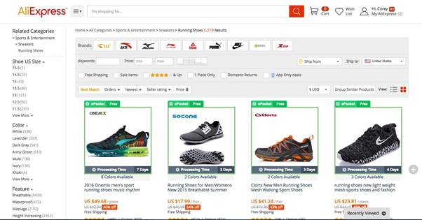 AliExpress website with several filter options to choose products